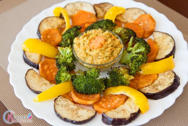 Oven roasted vegetables with guacamole