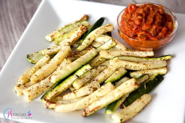 Baked Zucchini Fries with Salsa Sauce
