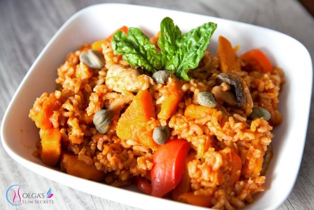 Pumpkin with rice and vegetables